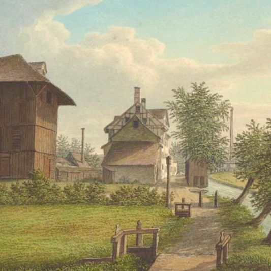 The Riehenteich with businesses, watercolour, around 1875.