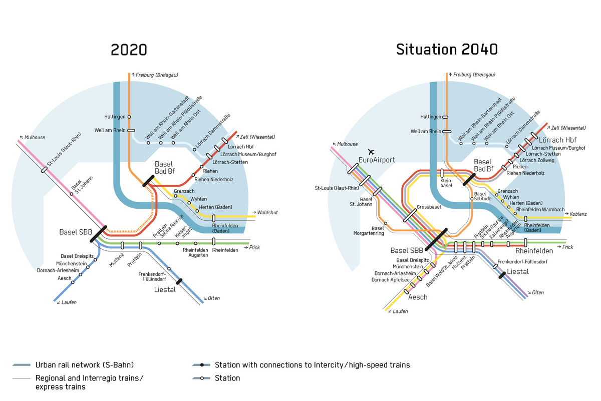 future urban rail network after completion of the 'Herzstück' project.